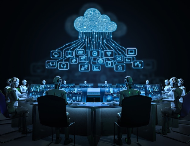 Концепция технологии облачных вычислений с 3d-рендерингом киборга с графическим дисплеем