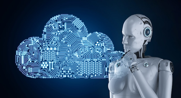 3d 렌더링 여성 로봇이 회로 클라우드와 함께 작동하는 클라우드 컴퓨팅 기술 개념