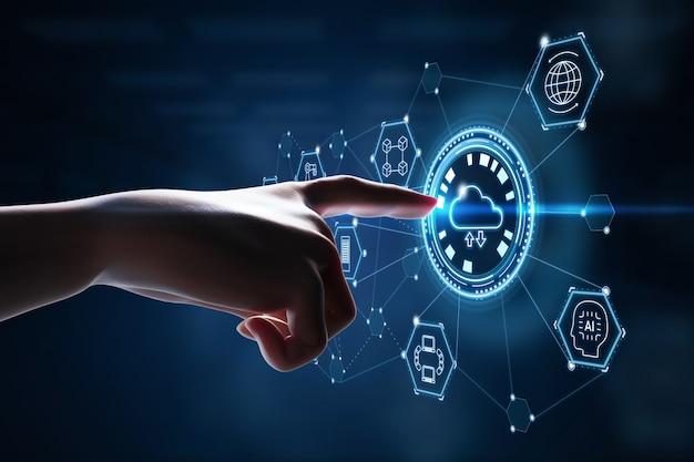 Концепция технологии облачных вычислений с 3d-рендерингом точки человеческого пальца на графическом дисплее