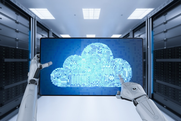 3d 렌더링 휴머노이드 로봇이 회로 클라우드와 함께 작동하는 클라우드 컴퓨팅 기술 개념
