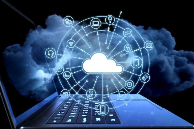 Концепция технологии облачных вычислений с облаком и значками