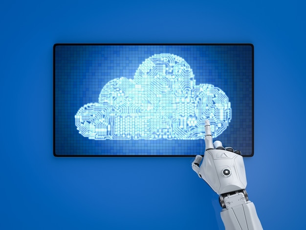 Концепция технологии облачных вычислений с роботом, работающим с облаком схемы