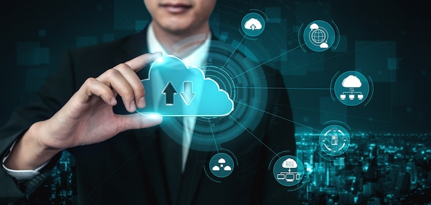 Cloud computing technology and online data storage for business network concept