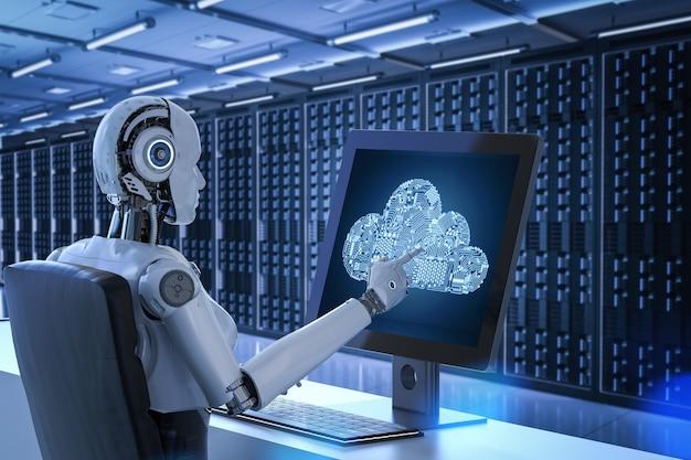 서버실에 회로 클라우드가 있는 3d 렌더링 로봇을 사용한 클라우드 컴퓨팅 기술