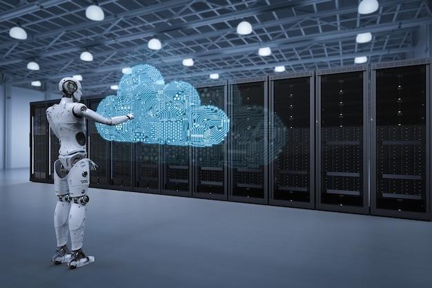 서버실에 회로 클라우드가 있는 로봇을 사용한 클라우드 컴퓨팅 기술