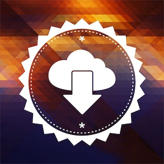 Cloud concept. retro label design. hipster background made of triangles, color flow effect.