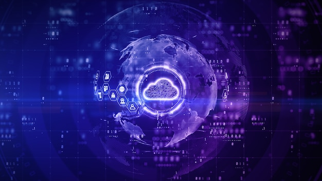 Облачный цифровой дизайн с фиолетовым фоном