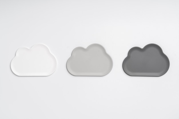 Cloud icon from the top view on the workplace & desk