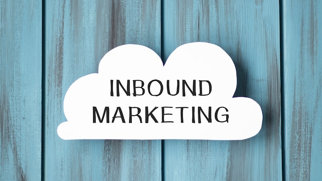 Cloud-like whiteboard and text notes on it inbound marketing