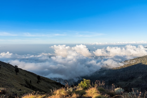 Above the cloud and mountain view from rinjani mountain