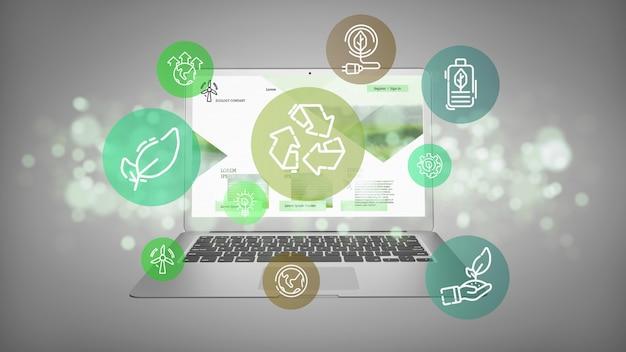 Облако зеленого экологии значок пузыря с ноутбуком 3d-рендеринга