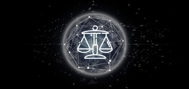 Cloud ofjustice and law icon bubble with data 3d rendering