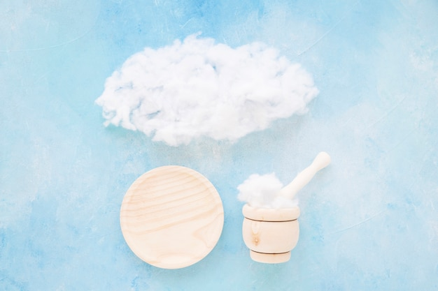 Cloud over the plate, mortar and pestle