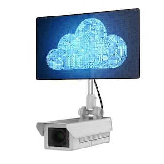 회로 클라우드가 있는 3d 렌더링 보안 카메라를 사용한 클라우드 보안 개념