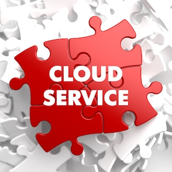 Cloud service on red puzzle on white.