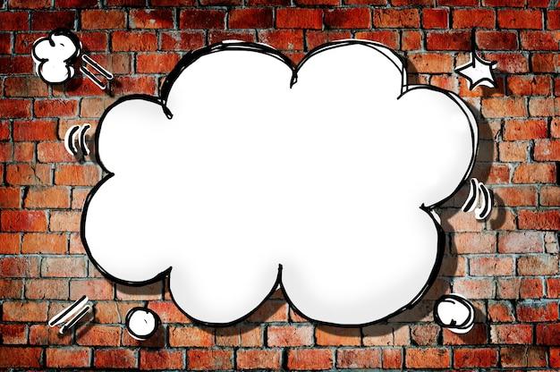 벽돌 벽에 구름 모양 연설 거품
