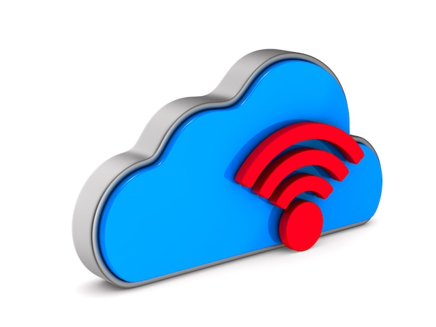 Cloud and sign wi-fi on white background. isolated 3d illustration