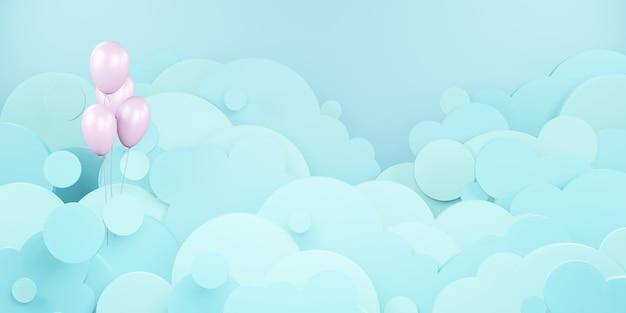 Облачное небо и воздушные шары, плавающие в небе, вырезка из бумаги в стиле 3d иллюстрации