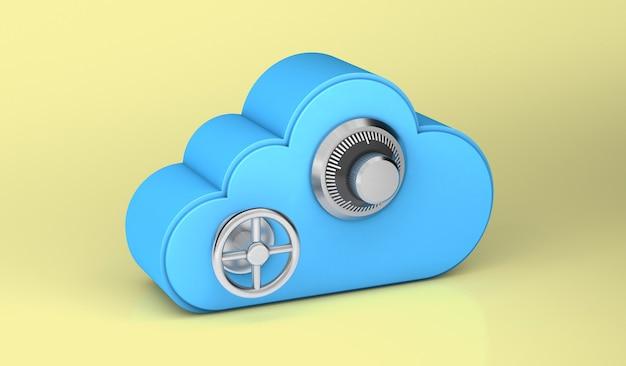 Облачное хранилище так же безопасно, как и сейф. желтый фон. 3d визуализация.
