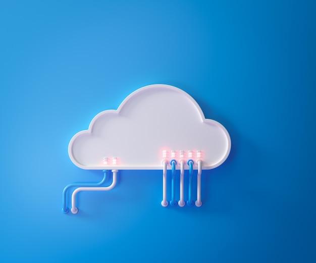 클라우드 스토리지 기술 및 온라인 데이터 스토리지, 클라우드 컴퓨팅, 파란색으로 흰 구름 호스팅