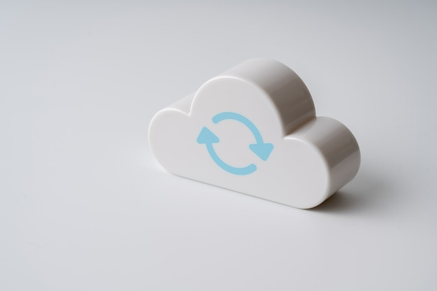 Cloud technology icon on colorful & creative background for global business concept