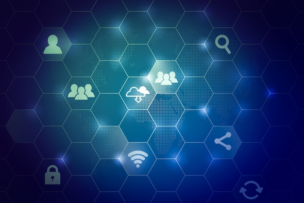 Cloud technology icon for global business concept abstract background