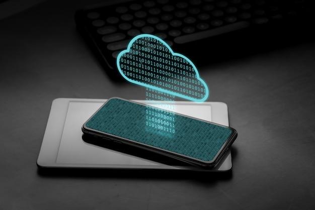 スマートフォンのクラウド技術アイコン