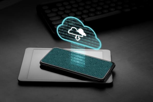 Значок облачных технологий на смартфоне