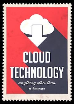Облачные технологии на красном. винтажная концепция в плоском дизайне с длинными тенями.