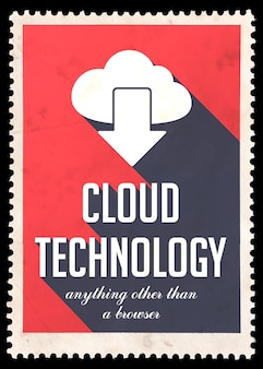 Cloud technology on red. vintage concept in flat design with long shadows.