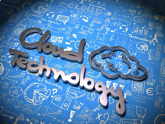Cloud technology slogan made of metal on background with handwritten characters