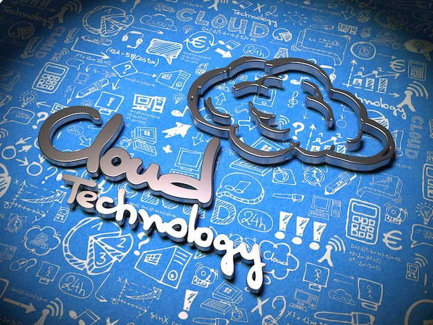 Cloud technology slogan made of metal on blue background with handwritten characters