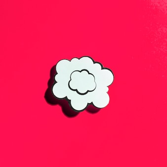 Cloud white speech bubble on red background