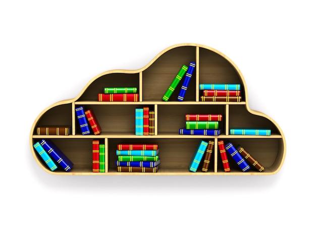 Облако с книгами на белом пространстве. изолированные 3d иллюстрации