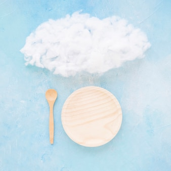 Cloud with empty plate and spoon