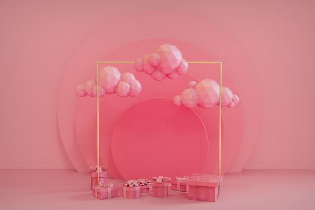 3dレンダリングのパステルピンクの背景にギフトボックスの雨と雲