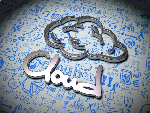 Cloud word made of metal on white background with handwritten characters