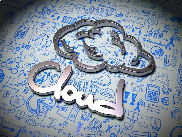Слово облако из металла на белом фоне с рукописными символами