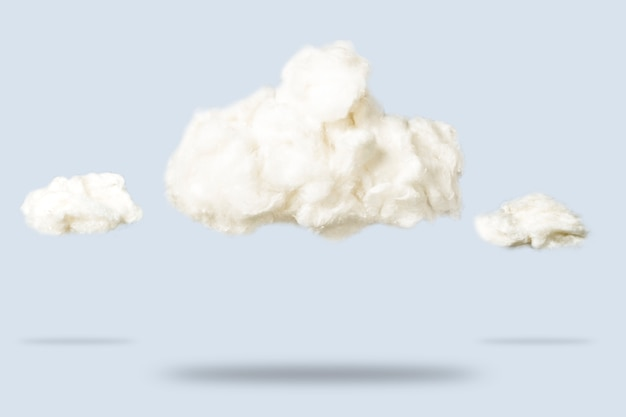 Clouds of cotton wool on a blue. weather concept.