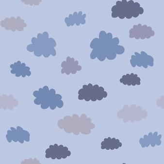 구름 기하학적 완벽 한 패턴입니다. 직물 및 장식을 위한 날씨 배경 디자인입니다. 벽지, 배경, 스크랩북 텍스처입니다. 벡터 일러스트 레이 션