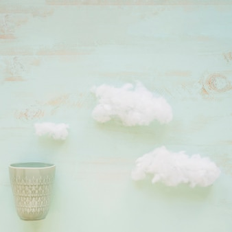 Clouds and old antique glass on grunge textured