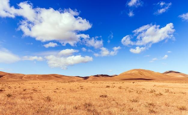 마른 노란 풀이 있는 산 위의 푸른 하늘에 구름