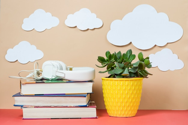 Clouds and plant near headphones and books