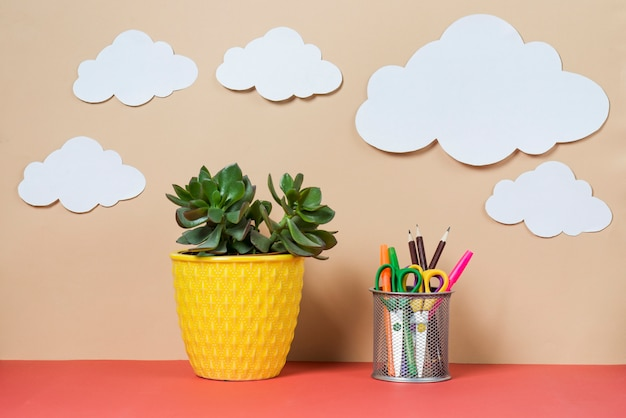 Clouds over plant and stationery