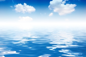Clouds reflected in sea water