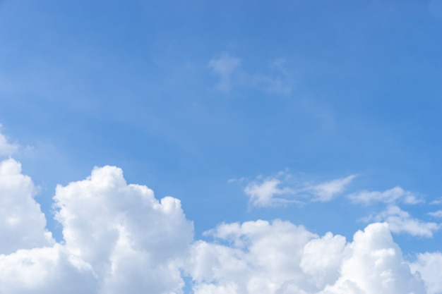 Cloudscape, dramatic withe cloud  on blue sky, copy space