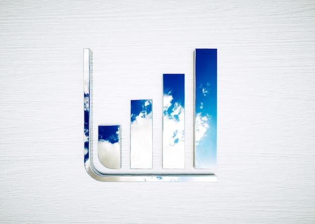 Отражение пасмурного голубого неба в графике. концепция развития солнечной энергии. 3d-рендеринг.