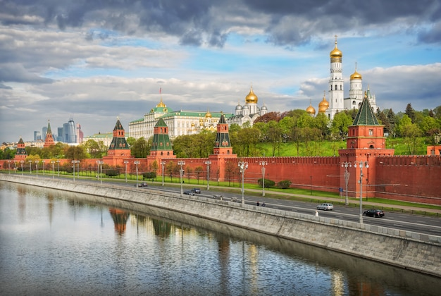 Cloudy clouds over the towers and domes of the moscow kremlin