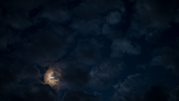 Cloudy and moon in the night sky.