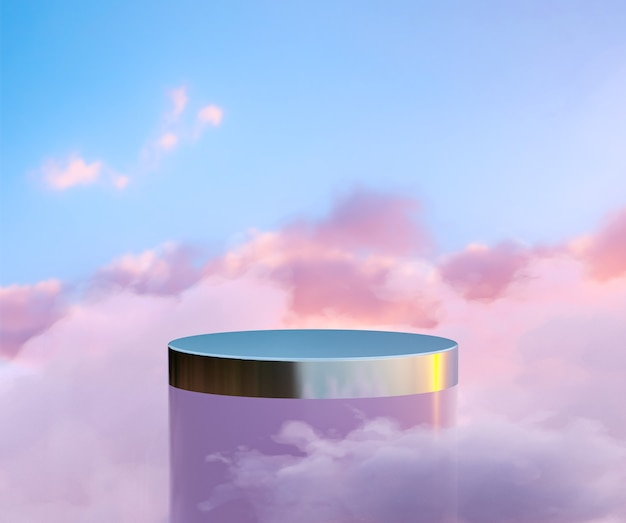 Cloudy podium for product display with dreamy sky background